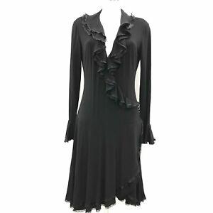 ROBERTO-CAVALLI-Black-Sheers-Ruffle-Long-Sleeve-Wrap-Button-Dress-Size-14-512386