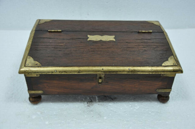 Old Wooden Unique Shape Brass Fitted Handcrafted Jewellery Box