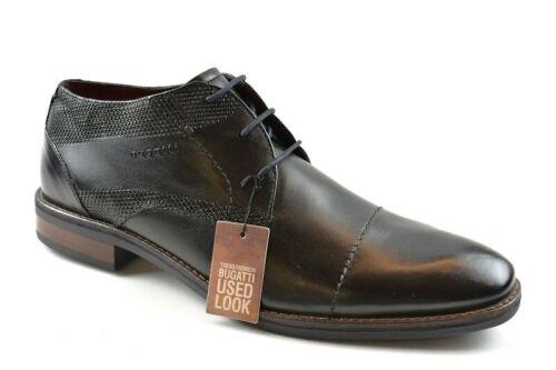 Bugatti Herren Business-Schuhe Leder in USED-LOOK  Schwarz
