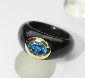 Negro-jade-ring-CON-TOPACIO-AZUL-london-blau-585-karat-gelbgold-NUEVO-5897