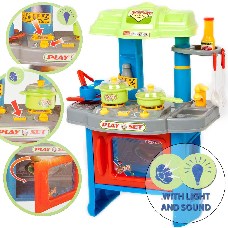 29 Stück Elektronisch Küche Kochen Kinder Spiel Set Spielzeug mit Lampe & Klang-