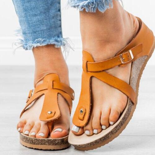 Damen Wedge Keilabsatz Sandalen Sandaletten Strand Schuhe Slipper Zehentrenner