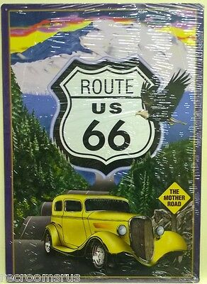 ROUTE 66 metal sign nature scene with 30's hot rod the mother road historic