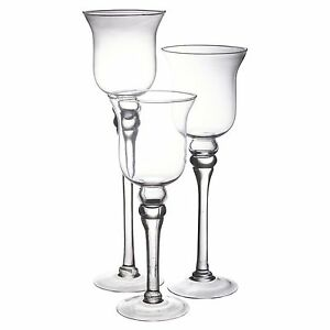 Set-of-3-Tall-Glass-Candle-Holders-Large-Centerpiece-Tea-Light-Hurricane-Wedding
