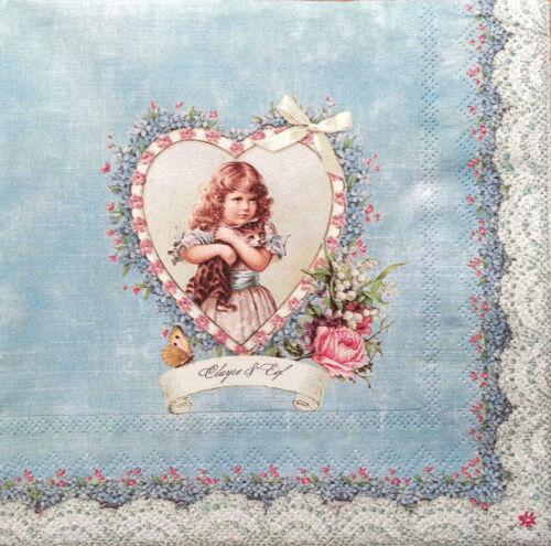 4 X Papel Vintage Mesa Servilletas//fiesta//Para Decoupage//artesanía//Lovely Girl