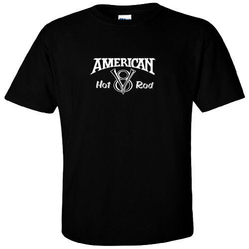 American Hot Rod GearHead Car V8  logo on front silk screen garage T-Shirt