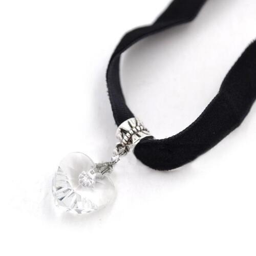 Girl/'s Cristal Corazón Colgante Gargantilla De Terciopelo Decoración De Banda De Cuello necklacecollar DSUK