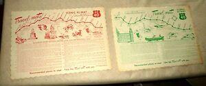 SET OF 2 VINTAGE PAPER MAT SOUVENIR CARTOON MAP US HWY 40 SAN FRANCISCO 1954