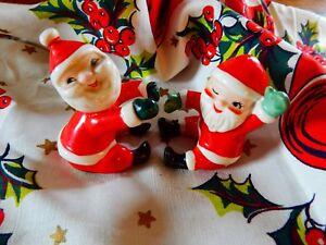 1958-Vintage-Holt-Howard-Santa-Claus-Candle-Huggers-Climbers-Christmas-Japan