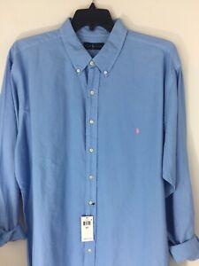 Ralph-Lauren-Polo-Mens-2LT-Big-amp-Tall-2XLT-Blue-Cotton-Oxford-Shirt-Pink-Pony