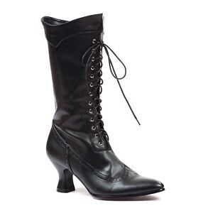 Ellie 253-AMELIA Black 2.5 inch Spool Heel Women's Costume Victorian Calf Boot