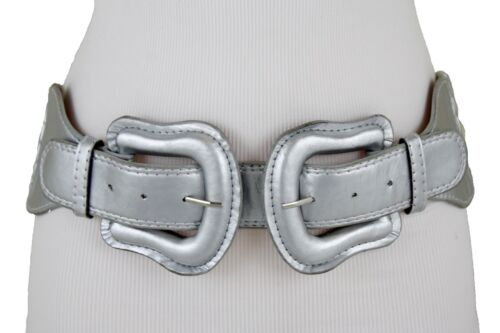 Women Silver Wide Stretch Waistband Beautiful Belt Cowgirs 2 Double Buckles M L