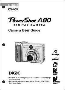 canon powershot a80 digital camera user guide instruction manual ebay rh ebay com canon powershot a80 instruction manual canon powershot a80 service manual