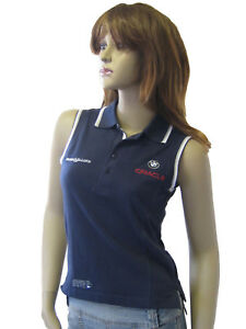 NEU Henri Lloyd BMW Oracle Damen Segeln Golf Tennis Piqué Polo Shirt Navy L