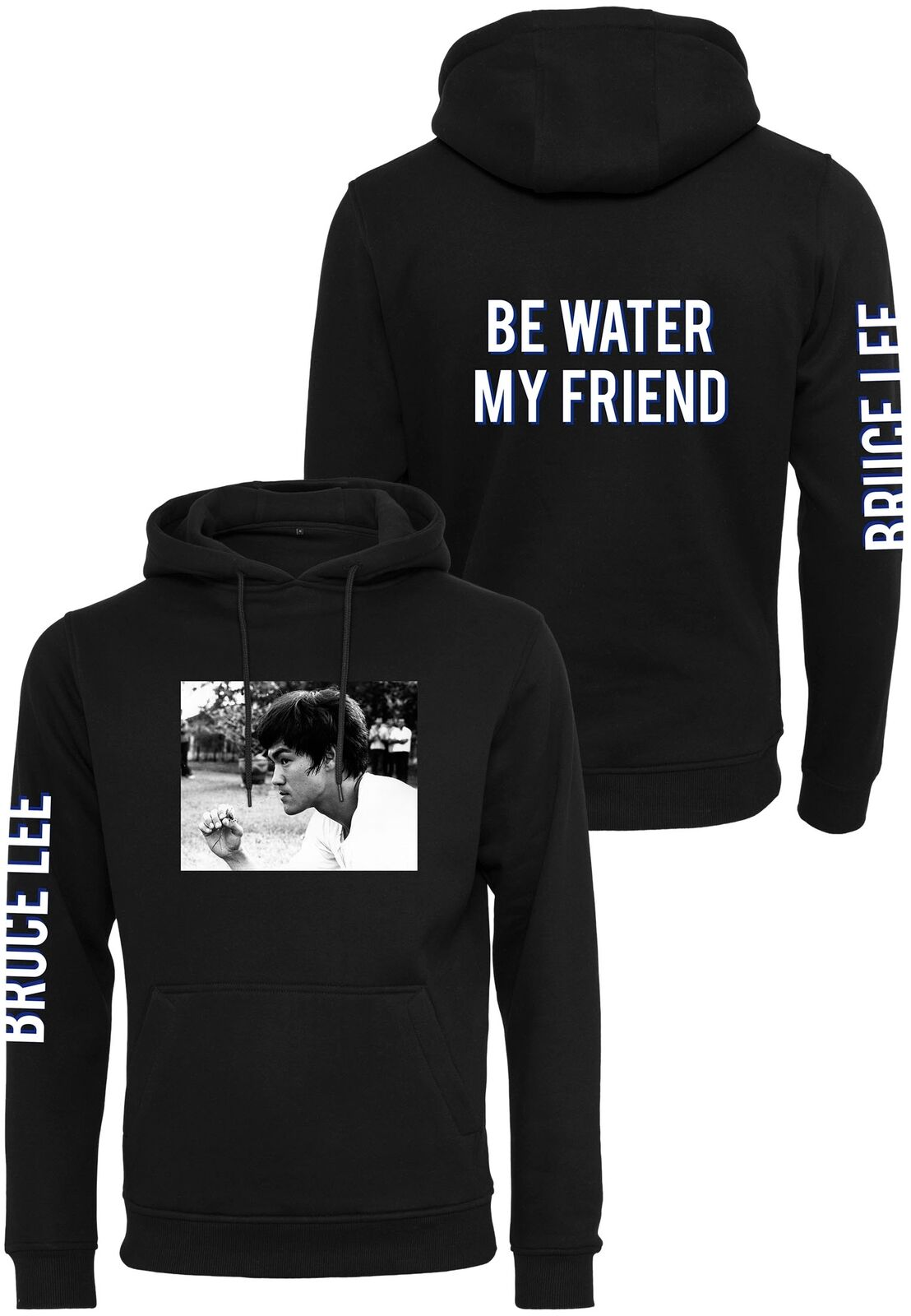 Merchcode Bruce Lee Be Water My Friend Felpa con Cappuccio
