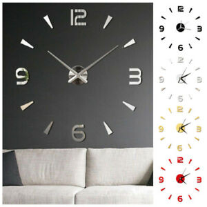 Modern Diy Large Wall Clock Kit 3d Mirror Surface Sticker