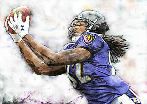 NEW-amp-RARE-Torrey-Smith-Baltimore-Ravens-Art-Print-12x18-s-n-by-artist