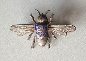 Grossherzogtum-Hessen-Landfrauen-Biene-3d-Motiv-antike-Brosche-emailliert-Silber