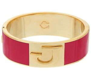 C-Wonder-Enamel-Initial-034-J-034-Oval-Hinged-Bangle-with-Magnetic-Clasp-QVC-SOLDOUT