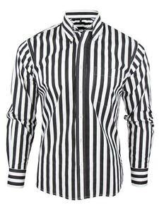 Mens Retro Relco Stripe Shirt L/S Button Down Collar Black White ...