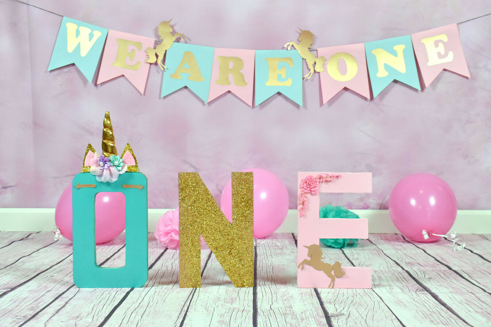 ONE First Birthday Unicorn Wooden Letters Letters Letters  Sign  Photo Prop 825215