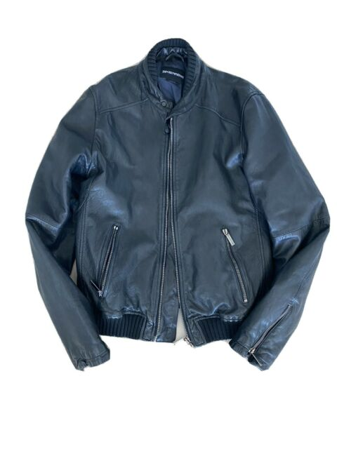 Emporio Armani Mens Black Leather Jacket (Size 46)