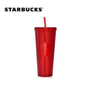 Starbucks Tumbler China Christmas Red Bling Diamond studded 24oz Straw Cold cup