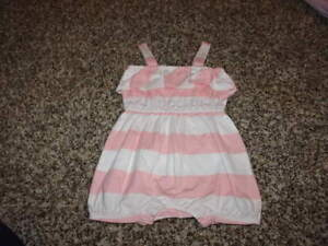 8b825429e06 JANIE AND JACK 0-3 PINK WHITE STRIPED BUBBLE ROMPER EYELET DELIGHT ...