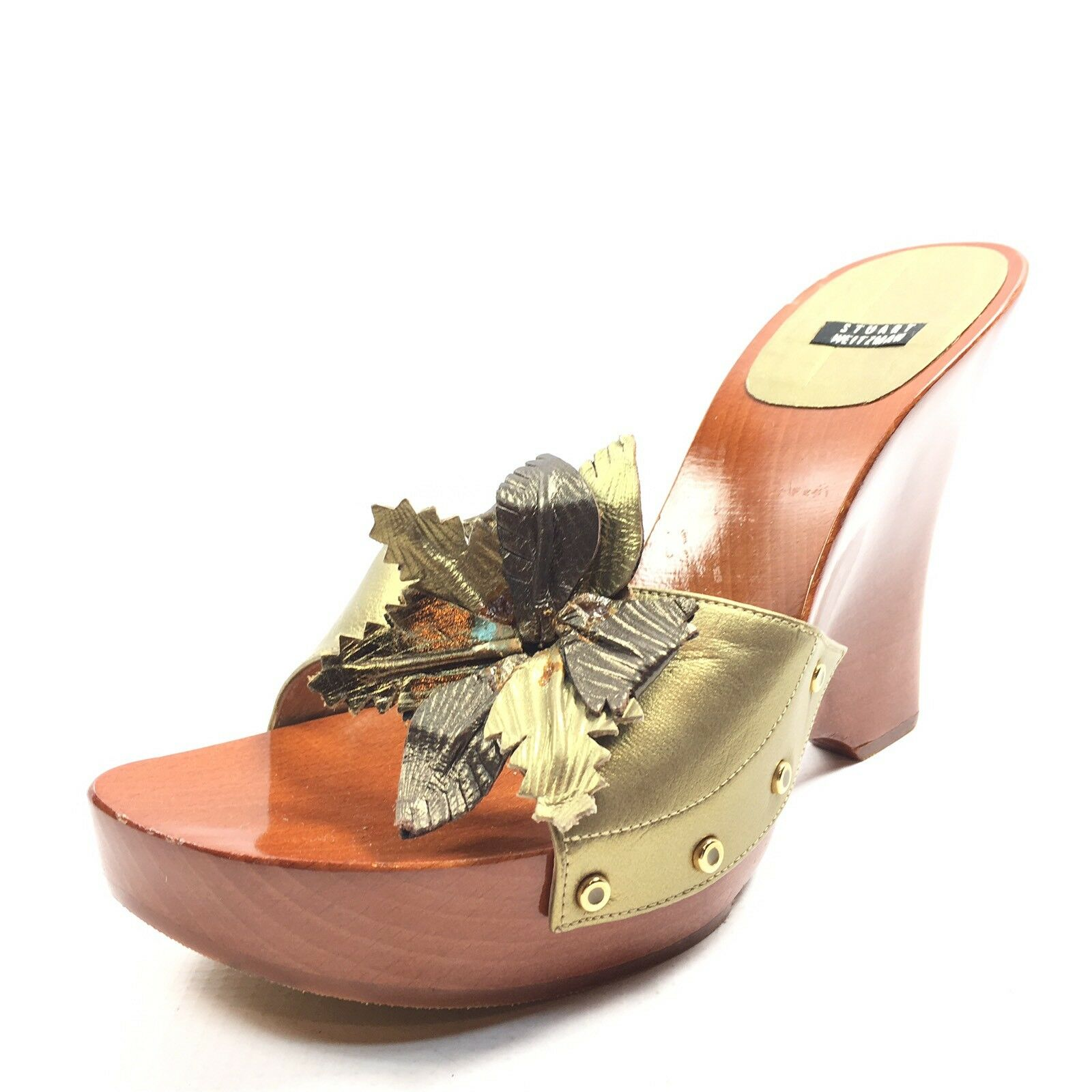 New Stuart Stuart Stuart Weitzman gold Leather Open Toe Platform Sandals Women's Size 8.5 M a2bcd3