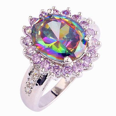 Gorgeous Gift Rainbow & White & Pink Topaz Gemstone Silver Ring Size 6 7 8 9 10