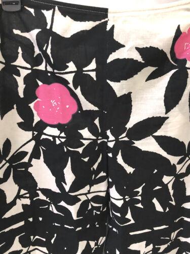 Marimekko cotone Floreale in alla Nero caviglia S 2 Rosa Capri Bianco Pantaloni zwxzrqEB