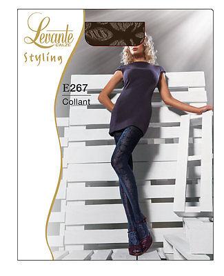 COLLANT moda lavorato 80 DEN LEVANTE fantasia  NERO e267 BLU DEEP