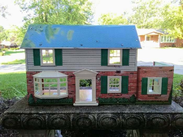 Marx Colonial Tin Litho Dollhouse With 13 Pc Furniture 1960s 2 Story