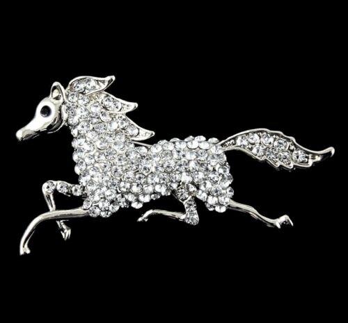 Venetti Color plata Broche Con Piedras De Cristal Genuino De Caballo