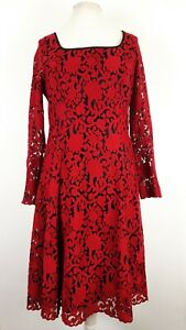 Next-Tall-Red-Lace-Dress-Size-UK-14-T-Fit-and-Flare-Evening-Cocktail-Xmas-Party