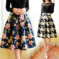 Sexy Women Vintage Stretch High Waist Plain Skater Flared Pleated Long Skirt