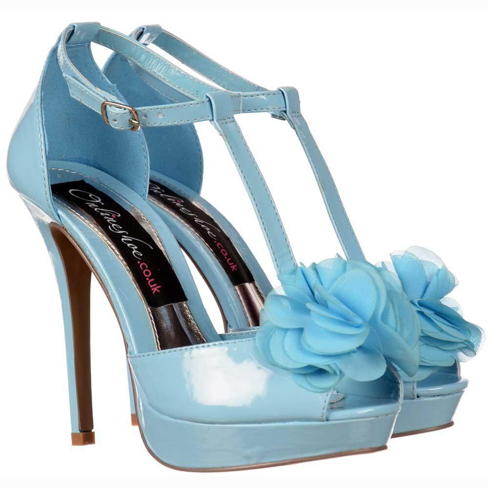 NEW WOMENS LADIES HIGH HEEL STILETTO PLATFORM PEEP TOE WEDDING SHOE blueE UK4
