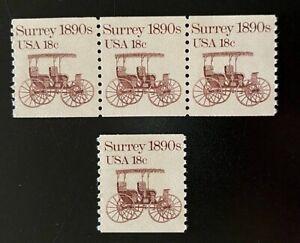 US Stamps, Scott #1907 18 C 1983 Bobine Bande de 3 & unique XF M/jamais à charnière