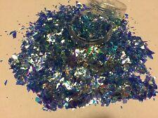 Brillo hermoso arte en uñas azul hielo Acrílico y Gel de Mylar Cristal roto aplicación