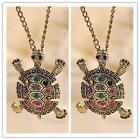 Women Lovely Inlay Diamond Turtle Pendant Necklace Tortoise SweaterChain Q~
