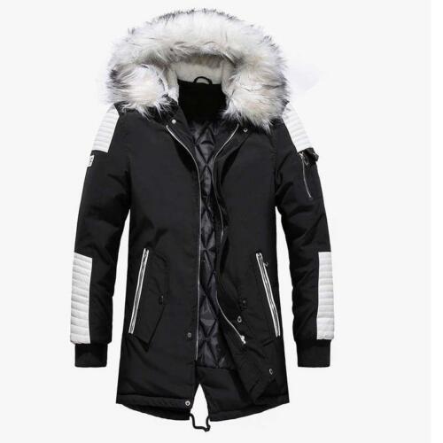 Winter Mens Parka Long Thicken Fur Collar Hooded Warm Outwear Coat Jacket Hot