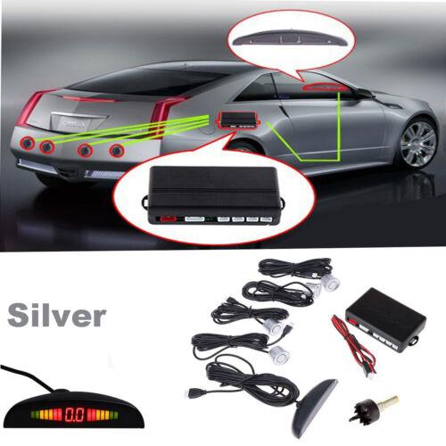 4 Parking Silver Sensors LED Display Car Reversing Backup Radar Alarming System