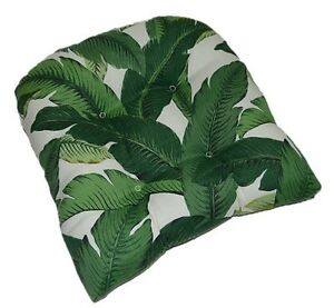outdoor swaying palms green tropical tufted wicker chair cushion