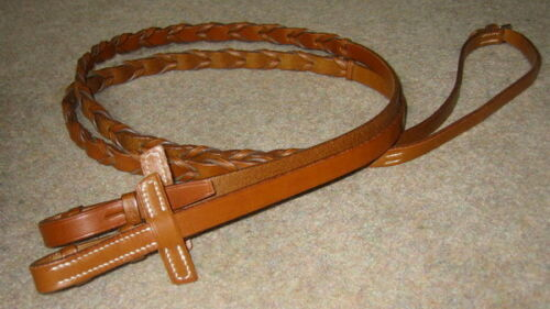 Stubben German Leather Hand Woven Laced Braided Hunter Showing Dressage Reins