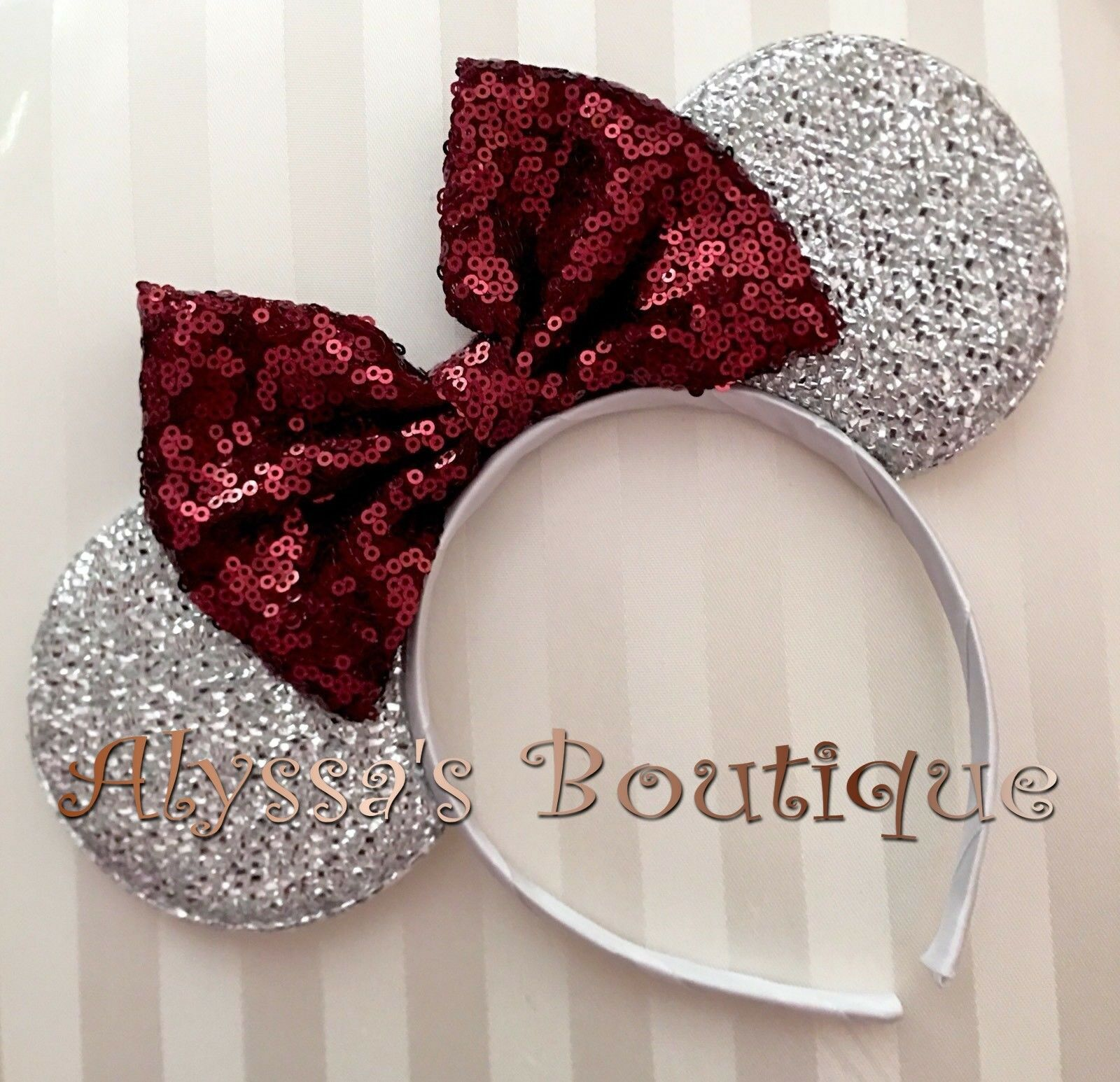 Red Sequin Bow Mickey MINNIE MOUSE EARS Headband Silver Sparkle Shimmer