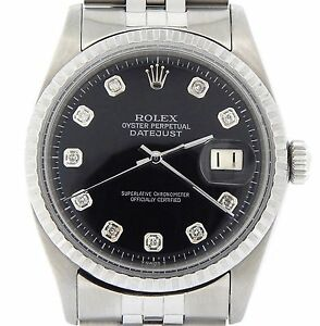 Rolex-Datejust-Mens-SS-Stainless-Steel-Jubilee-Black-Diamond-Dial-Watch-1603