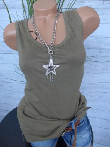 NEUF 706 Sheego top shirt taille 40-50 kaki argile avec rivets partielle à l/'encolure