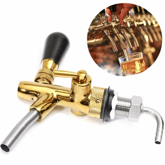 Flow Controller Draft Beer Faucet Tap G5/8 Chrome Gold Plating Shank Kegerator ☆