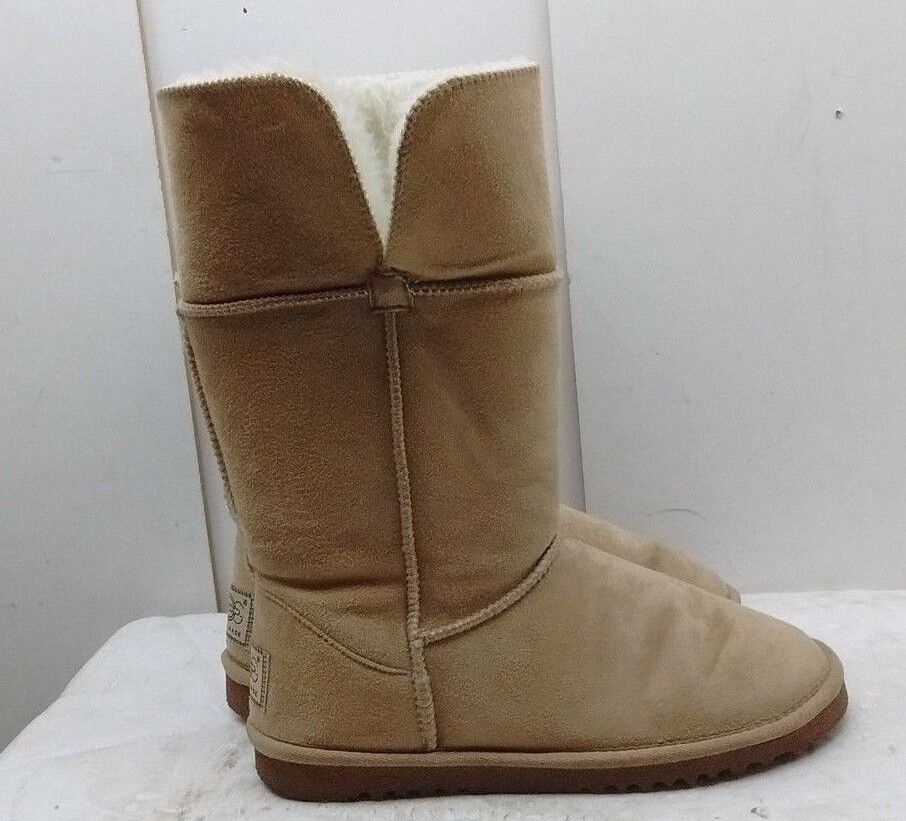 Remake Women's Brown Suede Mid Calf Handmade Boots Shearling Winter Snow shoes 8M