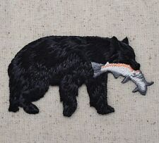 New Iron-On Applique Embroidered Patch Black Bear Catching Trout Fish